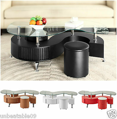 S Shape Curve Glass Coffee Table with 2 Stools Faux Leather Modern Wave Design