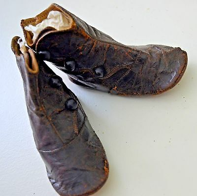 Charming Antique Brown Leather Baby Boots Size 0 Ss814