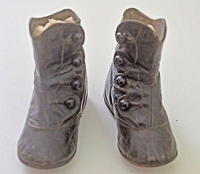 Charming Antique Tall Brown Leather Baby Boots Size 0 Ss815