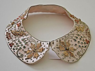 STUNNING VINTAGE METALLIC EMBROIDERED SILK COLLAR w/ COLORED BEADS SS820