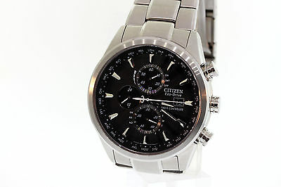 Men's Citizen AT8010-58E World Chronograph AT Eco-Drive Stainless Black Watch