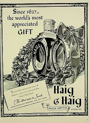 1941 ORIG. PRINT AD HAIG & HAIG since 1627 world's most appreciated gift, bottle