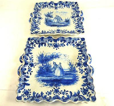 Two Antique Dutch Delft Blue & White Square Tin Glaze Twin Handled Dishes