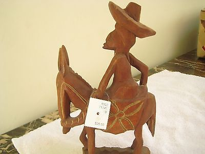 Wooden Hand carved Horse and Rider Statue