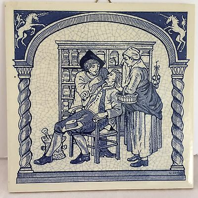 """Delft Holland 6"""" Tile - Pharmacist Series - """"Dentist And Apothecary"""""""