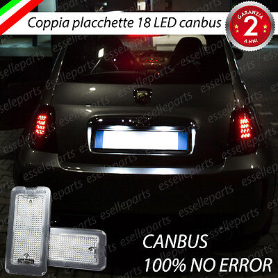 Coppia Placchette A Led Luci Targa 18 Led Fiat 500 500C  Canbus No Avaria
