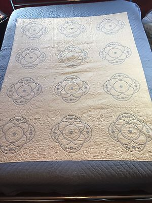Vintage Hand Stitched Cotton Quilt Blue and White Hand Quilting and Embroidery