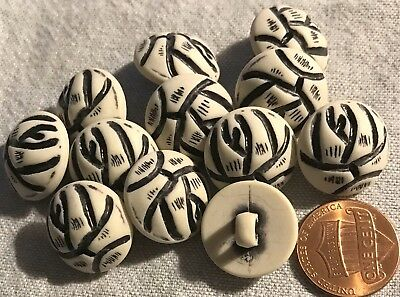 """12 NEW Off-White & Black Domed Plastic Shank Buttons 11/16"""" 18MM Lot # 796"""
