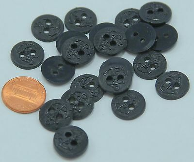 """Lot of 24 Very Dark Navy Blue Anchor Nautical Plastic Buttons 9/16"""" 15mm  # 6495"""