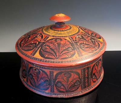 Antique 19Th C Afghan Nuristan Turned Incised Painted Wood Spice Storage Box