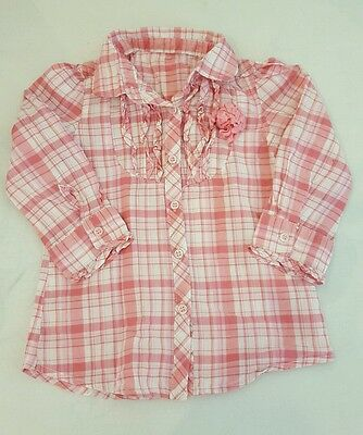 Girl's Young Dimension Shirt/Top. 9-12 Months. Pink & White In Colour.