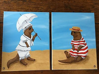 Original painting Victorian Otters by the Seashore Bathing Suits Sun Sand Cute