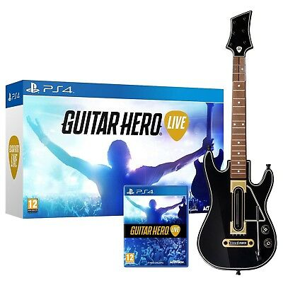 Sony PS4 Guitar Hero Live Wireless Guitar Bundle Game Set Kit Playstation 4