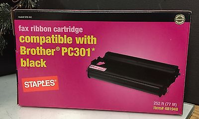 Staples - Fax Ribbon Cartridge - Compatible with PC301 Black 481948