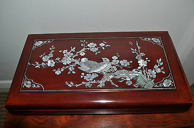 Vintage Korean Lacquer Smoking Box w/ Mother-of-Pearl Brass Tray Asian