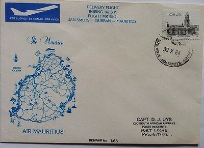 South Africa 1984 Air Mauritius Boeing 747 Delivery Flight Cover Showing Island