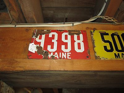 Original Early Maine Porcelain License Plate 1911