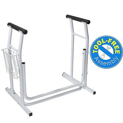 Vaunn Medical Toilet Safety Rail Stand-alone Commode Rail Tool-Free Assembly