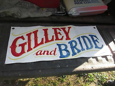 Original Early Gilley and Bride Leather Circus Sign