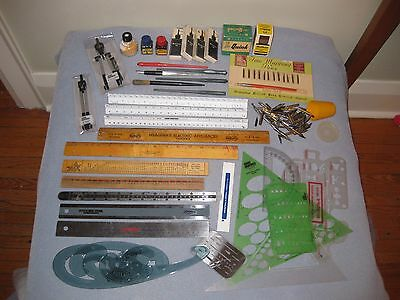 Drafting Graphics Art Lot Rulers Fountain Pen,Nibs & Ink Stencils French Curve