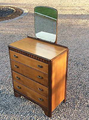 Vintage Lebus Oak Art Deco Chest Of Drawers Dressing Chest. Mirror. Dovetail