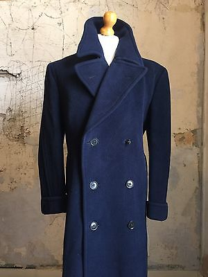 Vintage 1940's  Navy Blue Heavy Herringbone Overcoat Size 46