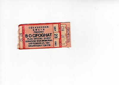 Blue Oyster Cult+Foghat Used Ticket Stub From 1981 Syracuse, Ny Concert    Rare