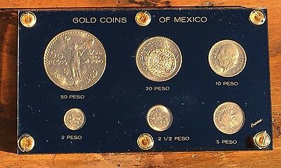 Gold Coins of Mexico 6 coin Set - 1906-1929 Mint Condition In Case Rare Dates!