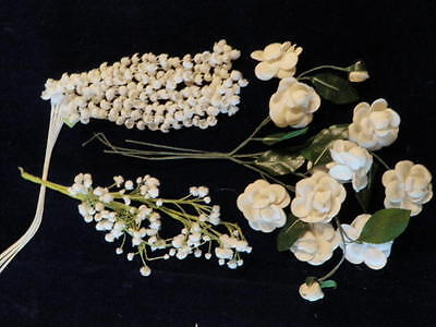"""Vintage Millinery Flower Collection 1/4""""- 1 3/4""""  All White for Hat Hair   H1465"""