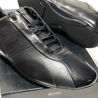 ea32df8e916 HUGO BOSS Mercedes Benz Black Textured Leather Fashion Racing Sneakers  Oxfords