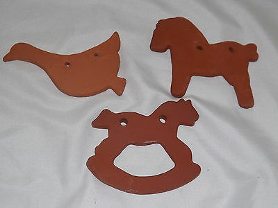 NED FOLTZ red ware redware Rocking Horse, Duck, Pony Ornaments