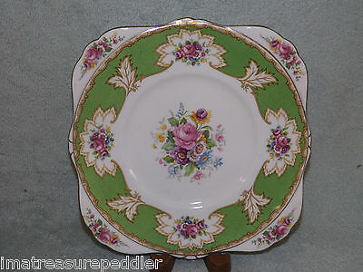 Royal Grafton Academy Green Bone China Squared Cake Cookie Plate
