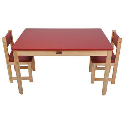 Children's Table & Chairs Rectangular Table and 2 Chair Set Red CLEARANCE