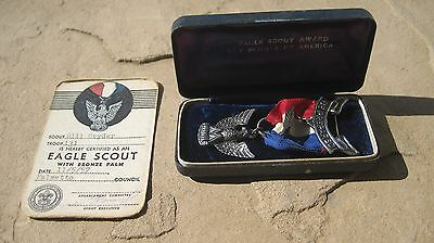 1957 Eagle Scout Award With Bronze Palm Sterling Robbins 4 W/certification Card