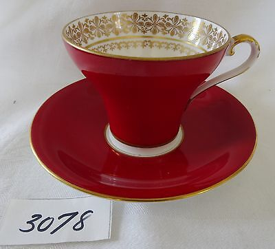 AYNSLEY Bone China Cup & Saucer  MAROON Red GOLD PATTERN IN CUP