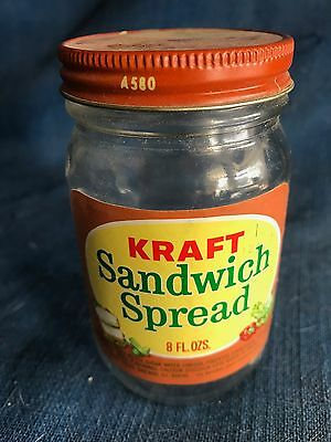 Vintage Kraft Sandwich Spread Bottle & Lid 1960s w/label Old Food Container Jar