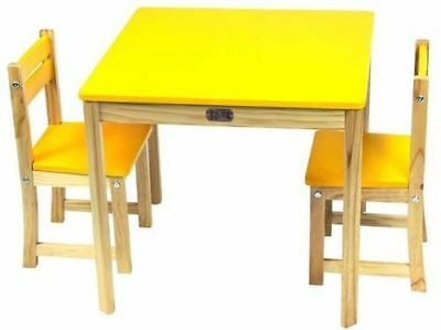 Children's Table & Chairs Square Table and 2 Chair Set Yellow CLEARANCE