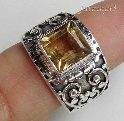 Citrine Solid Silver, 925 Balinese Traditional Design Ring 32124
