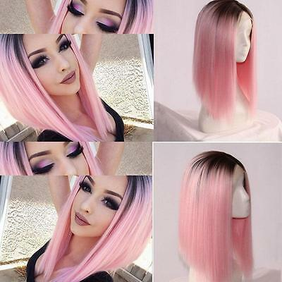 Heat Resistant Synthetic Lace Front Ombre Wigs Long Straight Bob Black &Pink Wig