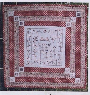 PATTERN - Ruby Cottage - stitchery & pieced wall quilt PATTERN - Gail Pan