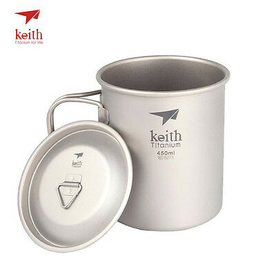 Keith Ultralight Titanium Cup Outdoor Camping Healthy Portable Mug 450ml KS810