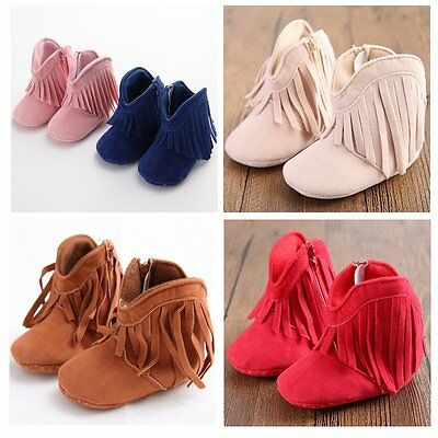 Baby Boy Girl Tassel Boots Shoes Soft Soled Newborn Toddler Kids Fringe 0-18M