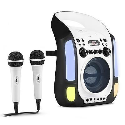 Karaoke Musik Kompakt Anlage System Cd Spieler Mp3 Player Mikrofon Led Usb Boxen