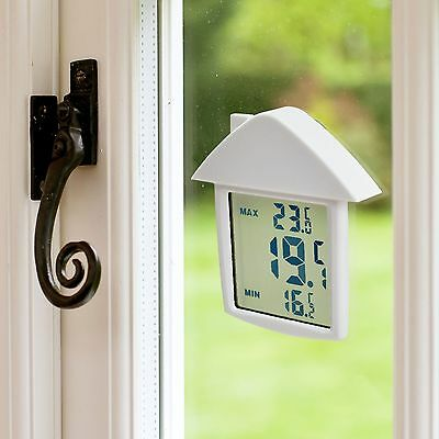 Home Window Thermometer Digital Lcd Display Weather Station Indoor Outdoor