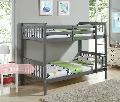 Wooden Bunk Bed Single Frame 3FT Size White Pine and with Mattress Kids Bunkbeds