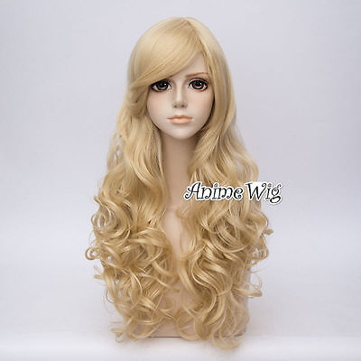 Lolita Light Blonde Long 65CM Curly Fashion Party Cosplay Wig+Wig Cap