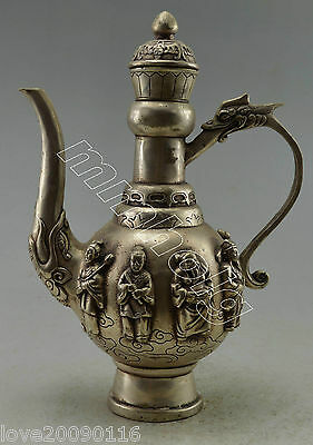 Collectible Decorate Old Handwork Silver Plate Copper Carved 8 Immortal Tea Pot