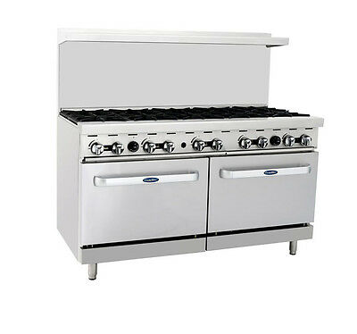 Atosa CookRite ATO-10B, 60-Inch 10 Burners Heavy Duty Gas Range with Double Oven