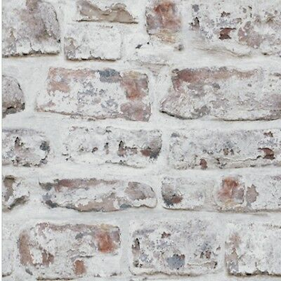 Arthouse White Wash Brick Stone Old Effect Rustic Wallpaper 671100 Retro