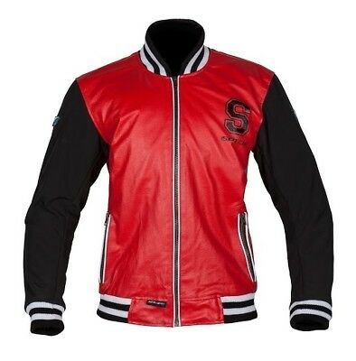 Spada Campus Leather and Softshell Retro Short Armoured Jacket - Black/Red